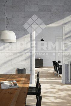 Woonkamer vloertegel modern interieur beige vloer travertin imitatie natuursteen - Imitatie cement tegels ...