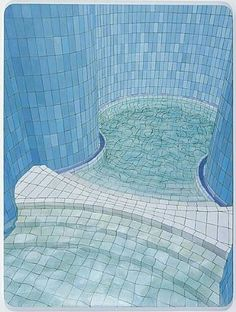 Adriana Varejao. Distorted pool picture, very surrealist and structured.