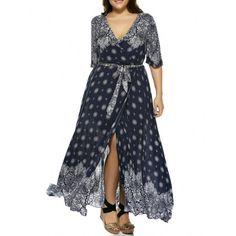 $16.07 Oversized Plunge Neck Bandanna Print Bohemian Wrap Maxi Dress