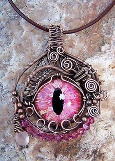 wire wrapped dragon and human eyes jewelry | ARTANSOUL Dragon Evil Eye Wire Wrapped Pendant, Aged Copper, Steampunk ...