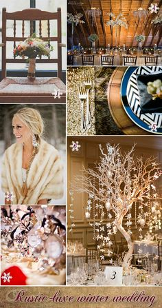 Rustic winter wedding ideas from bouquet to table decorations. #winterweddings #rusticweddings
