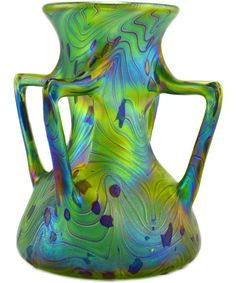 Bohemian Studio Art Nouveau Style Iridescent Glass Vase