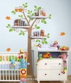 Woodland Animals Forest Animals Wall Decal Huge Tree Nursery Decal | Styleywalls - Children's on ArtFire