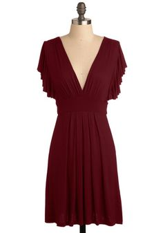 Plum Role Dress - Purple, Solid, Pleats, Casual, Empire, Short Sleeves, Mid-length, Jersey, V Neck, Tis the Season Sale