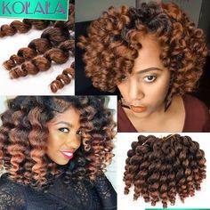 22 Roots Ombre Havana Mambo Twist Crochet Braids Jumpy Wand Curl braids Jamaican Bounce Crochet Hair Extensions Jumpy Wand Curly