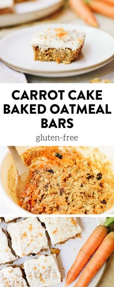 These carrot cake baked oatmeal bars are made simple and delicious using wholesome ingredients like rolled oats and grated carrots with a delicious cream cheese maple frosting for a sweet treat you can eat for breakfast or dessert! #carrotcakeoatmeal #carrotcakebars #glutenfree