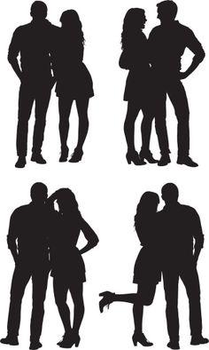 Vectores libres de derechos: Multiple images of a romantic couple…