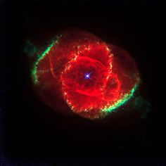 This Hubble Space Telescope image shows one of the most complex planetary nebulae ever seen, NGC 6543, nicknamed the 'Cat's Eye Nebula.' Hubble reveals surprisingly intricate structures including concentric gas shells, jets of high-speed gas and unusual shock-induced knots of gas. Estimated to be 1, 000 years old, the nebula is a visual 'fossil record' of the dynamics and late evolution of a dying star.