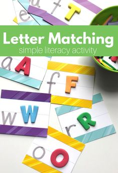 Letter matching activity for preschool that works on letter recognition and fine motor skills at the same time. This letter matching activity is cheap too!