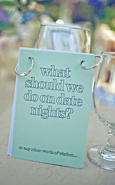 different question for each table at a wedding reception. so cute!