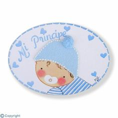 Mini placa de puerta artesanal: Bebé niño (ref. 12119-01)