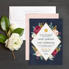 Painterly Blooms Wedding Invitation in navy blue, burgundy, and blush pink.