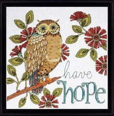 Hope Owl - Counted Cross Stitch Kit--Love this owl cross stitch kit. Think it would go great in the new living room I'm thinking of doing.
