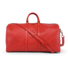 Gucci Red Bright Diamante Leather Carry On Duffle Bag (10.610 NOK) ❤ liked on Polyvore featuring bags and luggage