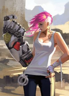 Vi by zippo514 on deviantART. Unfortunately this was painted from a reference piece that was not sourced :/ A little less impressive.