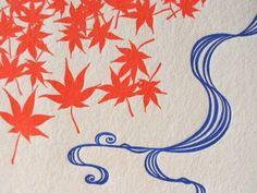 Japanese Momiji Letterpress Postcard - Details