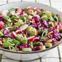 Asian Chopped Salad with Broccoli Stems, Sugar Snap Peas, Radishes, Red Cabbage, and Almonds [from Kalyn's Kitchen] #GlutenFree  #LowCarb  #Vegetarian