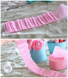 DIY Lollipop Flowers step 2  pleated crepe paper streamer on tape, wrapped around a dumdum