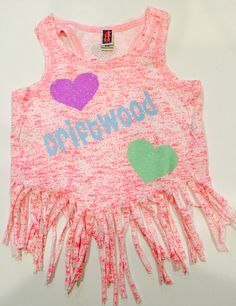 Camp Girls: Neon Fringe With Glitter Hearts