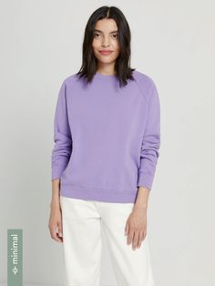 The Organic Cotton Gym Fleece Crewneck in Grapeade Organic Cotton, Personal Style, Sweaters For Women, Crew Neck, Turtle Neck, Man Shop, Gym, Knitting, Cuffs