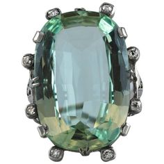 Antique 34.18 Carat Natural Green Aquamarine Diamond Gold Cocktail Ring | From a unique collection of vintage cocktail-rings at https://www.1stdibs.com/jewelry/rings/cocktail-rings/