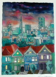 "Massimo Cruciani - San Francisco - Oil on Glass - 28"" x 22"""
