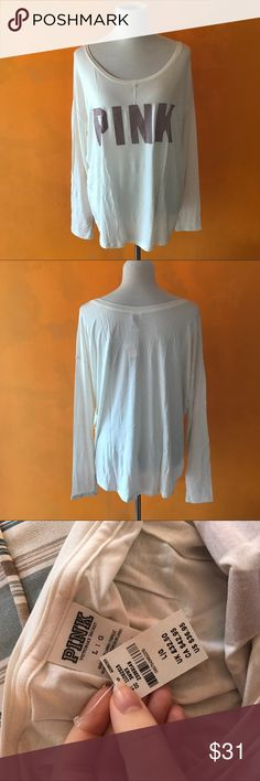 NWT Victoria's Secret PINK Long Sleeve Cream Shirt VERY SOFT. Next day shipping PINK Victoria's Secret Tops Tees - Long Sleeve