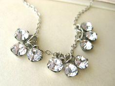 Rhinestone Bridal Necklace  1950s retro by littlewhitechapel, $35.00