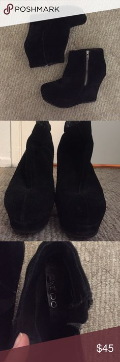 Platform shabootie black suede Worn once chunky funky black suede booties. Aldo hit it out of the park on this one! Perfect for dancing. Super stable and easy to go out in. Fashion forward and fun. Aldo Shoes Ankle Boots & Booties