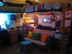 Dorm Ideas....futon Couch Under Bed W/ottoman Foot Stools For · Cute Dorm  RoomsCollege ... Part 38