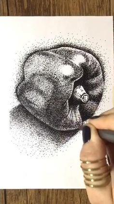 Dotted Drawings, Art Drawings Sketches Simple, Ink Pen Drawings, Easy Still Life Drawing, Still Life Sketch, Stippling Art, Pen Art, Biro, Ink Illustrations