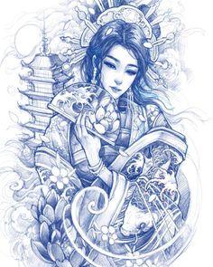 Geisha Tattoo Design, Japan Tattoo Design, Japanese Tattoo Designs, Japanese Tattoo Art, Tattoo Design Drawings, Tattoo Sketches, Sketch Drawing, Geisha Drawing, Geisha Art
