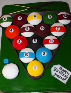 Pool Table Cupcakes I made for my husband's Birthday! Pool Birthday Cakes, Birthday Cakes For Men, 80th Birthday, Birthday Ideas, Birthday Parties, Cupcakes, Cupcake Cakes, Game Night Parties, Birthday Cake For Husband