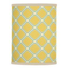 Summer Garden Yellow Blue and Cream Tiles Lamp Shade - blue gifts style giftidea diy cyo