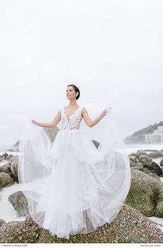 This sublime beach shoot features understated makeup, flowy gowns and striking bouquets. Winter Wedding Inspiration, Wedding Ideas, Flowy Gown, Beach Shoot, Designer Wedding Dresses, Seaside, Bouquets, Wedding Photography, Gowns