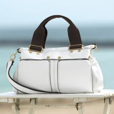 Twins Handbag from Monroe and Main. You're ready to sail in crisp style. Outside flap with hidden center zip.