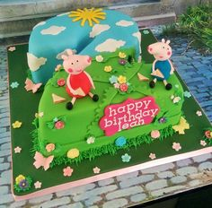 Peppa pig number 2 birthday cake