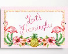 Flamingo Backdrop Party Sign Let's Flamingle by WestminsterPaperCo