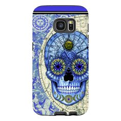 Astrological Skull Galaxy S7 Case - Astrologiskull - Blue and Tan Sugar Skull S7 Tough Case