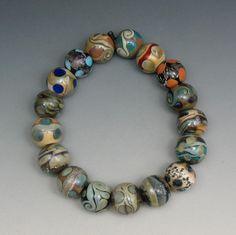 SJC Lampwork 17 handmade silver glass & dichroic round beads ~SRA~ USA~ #SJCLampwork #Lampwork