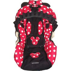 Red and white polka dot Minnie mouse infant car seat cover any model ($95) ❤ liked on Polyvore featuring baby and baby stuff