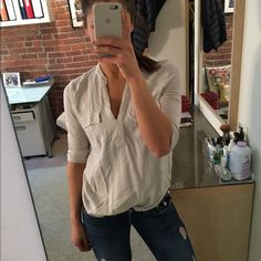 Forever 21 v neck light blue grey blouse Cute and cozy! Can be worn tucked or untucked and dressed up or down! Worn once. Forever 21 Tops Blouses