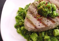 I made this tonight & everyone loved it....  Grilled Ahi Tuna w/ Avocado Chimichurri!