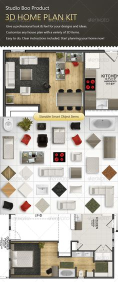 3D Home Plan Kit #GraphicRiver Studio Boo's Product, Home Plan Mock Up. Professional house Plan Tool for architects and graphic designers Customize any plan with variety of best quality items. Easy to do, Clear instructions included. Start planning your home! We will appreciate your rating. PSD FIle included. notice that the kit should be used upon your own plan. the plan is not included! Created: 14January12 GraphicsFilesIncluded: PhotoshopPSD HighResolution: No Layered...