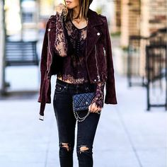 Edge up a feminine lace top with a sleek suede moto jacket.