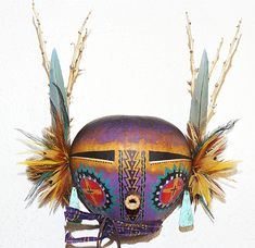 Purple and Gold Kachina Gourd Mask by Robert Rivera