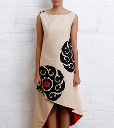 Beige Asymmetrical Katan Silk Dress | Taika By Poonam Bhagat
