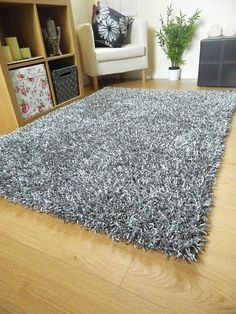 Silver Grey Rug Shag Spaghetti Plain Sparkle Large Small Runner Noodle Mat