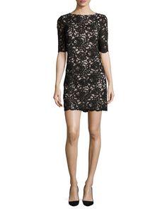 KATE SPADE NEW YORK 3/4-Sleeve Lace Sheath Dress. #katespadenewyork #cloth #