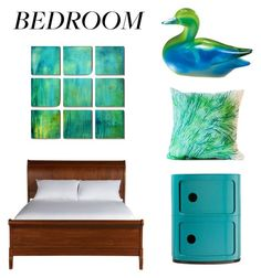"""Green-Aqua Bedroom"" by eveselina on Polyvore featuring interior, interiors, interior design, home, home decor, interior decorating, Elise Flashman, Dot & Bo, Fitz and Floyd and Ethan Allen"